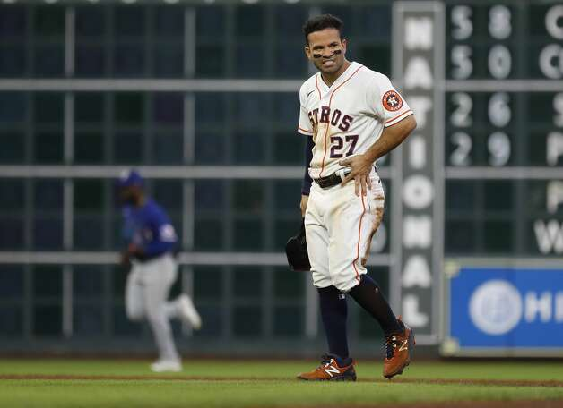 Houston Astros Jose Altuve (27) reacts after getting tagged out at second base after Michael Brantley hit into a double play during the second inning of an MLB baseball game at Minute Maid Park, Thursday, May 13, 2021, in Houston. Photo: Karen Warren/Staff Photographer / @2021 Houston Chronicle