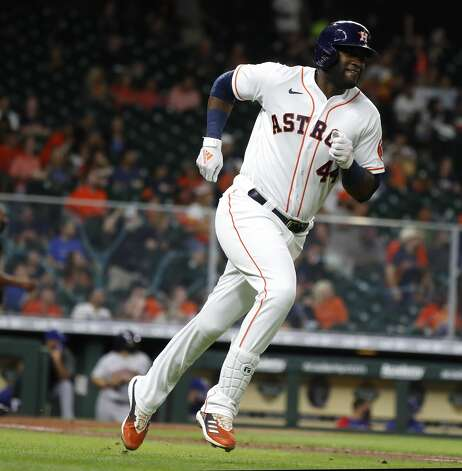 Houston Astros Yordan Alvarez (44) runs to second base after hitting a double during the fifth inning of an MLB baseball game at Minute Maid Park, Thursday, May 13, 2021, in Houston. Photo: Karen Warren/Staff Photographer / @2021 Houston Chronicle