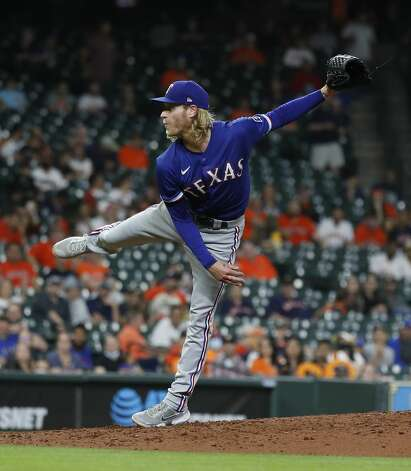 Texas Rangers starting pitcher Mike Foltynewicz (20) pitches during the fourth inning of an MLB baseball game at Minute Maid Park, Thursday, May 13, 2021, in Houston. Photo: Karen Warren/Staff Photographer / @2021 Houston Chronicle
