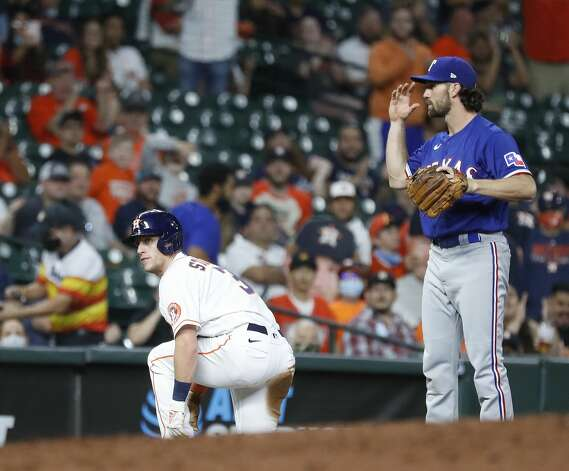 Houston Astros center fielder Myles Straw (3) waits a moment after being called out at third, the play was reviewed and the call stood during the fourth inning of an MLB baseball game at Minute Maid Park, Thursday, May 13, 2021, in Houston. Photo: Karen Warren/Staff Photographer / @2021 Houston Chronicle
