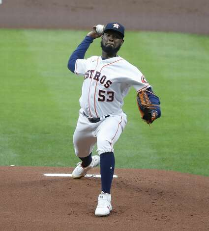 Houston Astros starting pitcher Cristian Javier (53) pitches during the first inning of an MLB baseball game at Minute Maid Park, Thursday, May 13, 2021, in Houston. Photo: Karen Warren/Staff Photographer / @2021 Houston Chronicle