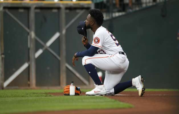 Houston Astros starting pitcher Cristian Javier (53) takes a moment as he prepared to warm up before the start of the first inning of an MLB baseball game at Minute Maid Park, Thursday, May 13, 2021, in Houston. Photo: Karen Warren/Staff Photographer / @2021 Houston Chronicle