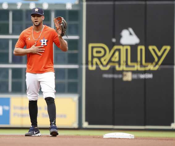 Houston Astros Yuli Gurriel takes infield practice at second base before the start of an MLB baseball game at Minute Maid Park, Thursday, May 13, 2021, in Houston. Photo: Karen Warren/Staff Photographer / @2021 Houston Chronicle