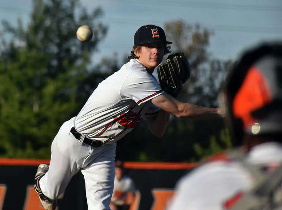 Edwardsville starting pitcher Gannon Burns fires a pitch to an Alton hitter during the sixth inning on Thursday at Tom Pile Field in Edwardsville.