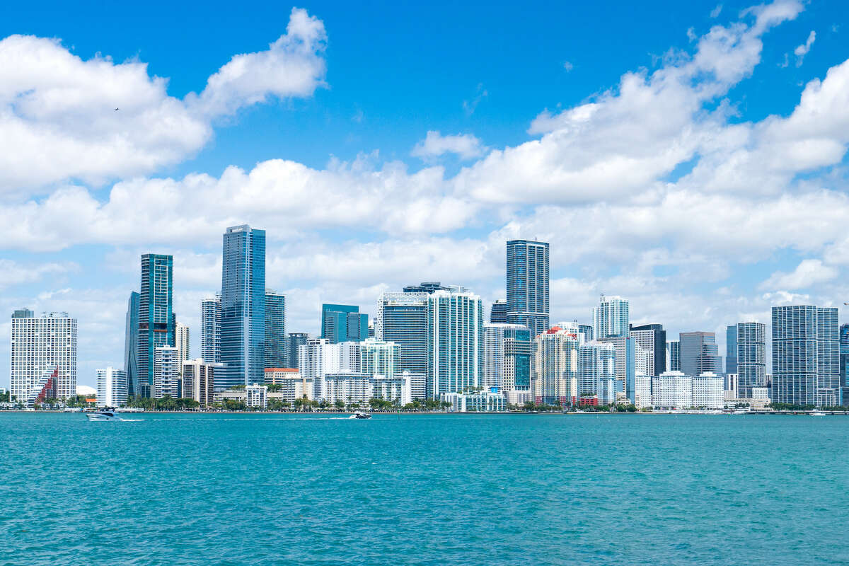 View of the Downtown Miami skyline from the Miami South Channel.