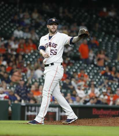 Houston Astros relief pitcher Ryan Pressly (55) during the ninth inning of an MLB baseball game at Minute Maid Park, Thursday, May 13, 2021, in Houston. Photo: Karen Warren/Staff Photographer / @2021 Houston Chronicle