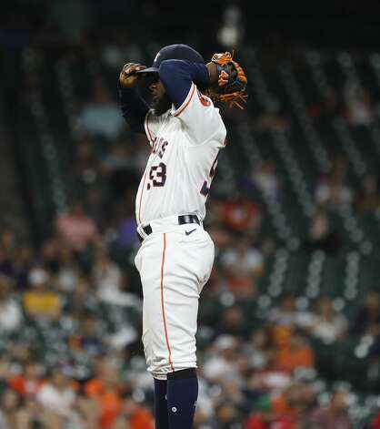 Houston Astros starting pitcher Cristian Javier (53) reacts after Texas Rangers Isiah Kiner-Falefa's single during the seventh inning of an MLB baseball game at Minute Maid Park, Thursday, May 13, 2021, in Houston. Photo: Karen Warren/Staff Photographer / @2021 Houston Chronicle