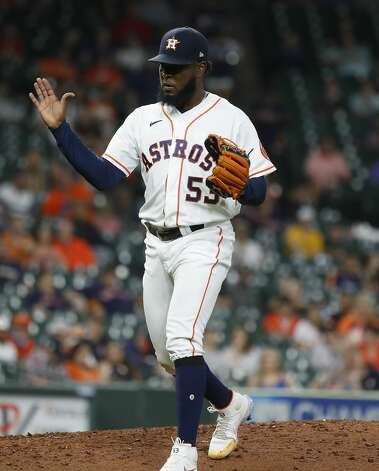 Houston Astros starting pitcher Cristian Javier (53) reacts after striking out Texas Rangers Jose Trevino to end the seventh inning of an MLB baseball game at Minute Maid Park, Thursday, May 13, 2021, in Houston. Photo: Karen Warren/Staff Photographer / @2021 Houston Chronicle