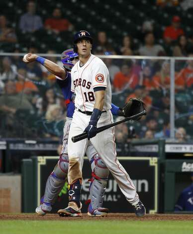 Houston Astros Jason Castro (18) after striking out during the eighth inning of an MLB baseball game at Minute Maid Park, Thursday, May 13, 2021, in Houston. Photo: Karen Warren/Staff Photographer / @2021 Houston Chronicle