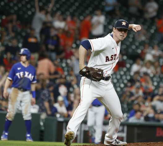 Houston Astros relief pitcher Brooks Raley (58) reacts after striking out Texas Rangers David Dahl during the eleventh inning of an MLB baseball game at Minute Maid Park, Thursday, May 13, 2021, in Houston. Photo: Karen Warren/Staff Photographer / @2021 Houston Chronicle