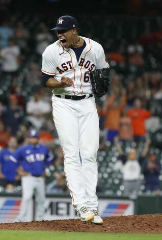 Houston Astros pitcher Bryan Abreu (66) reacts after striking out Texas Rangers Nick Solak to get out of the tenth inning of an MLB baseball game at Minute Maid Park, Thursday, May 13, 2021, in Houston. Photo: Karen Warren/Staff Photographer / @2021 Houston Chronicle