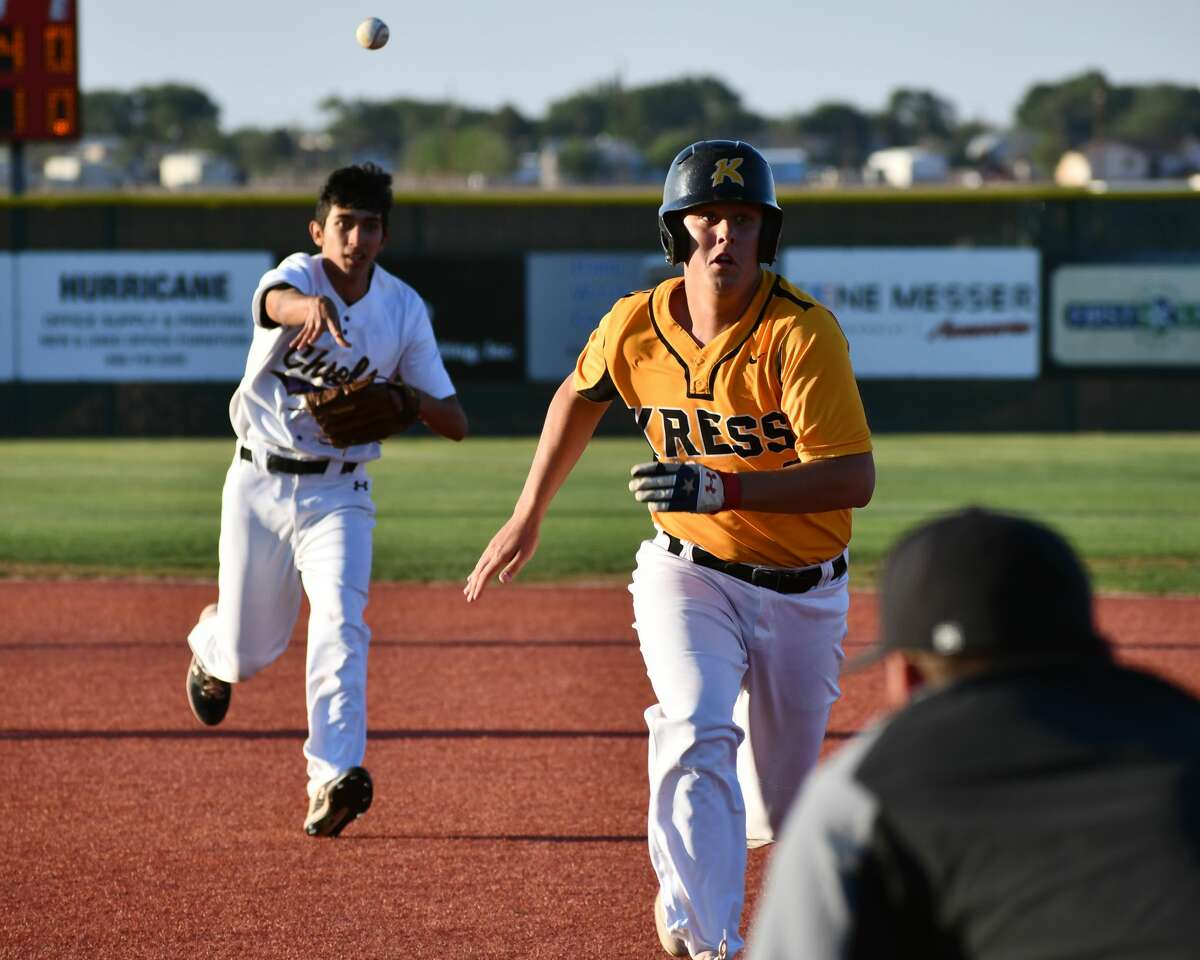 Kress' Zant Tye tries to avoid the rundown situation against Crobsyton during their Class 1A UIL region semifinal baseball game on Thursday at Lubbock-Cooper in Woodrow. Tye had three hits and accounted for all three runs in the Kangaroos' 3-0 win.