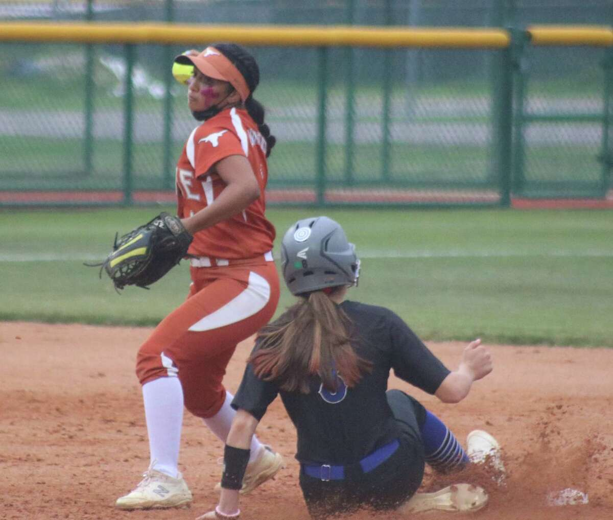 Dobie shortstop Kristen Barba erases Clear Springs' Claire Pollack for the second out of the second inning Thursday night.