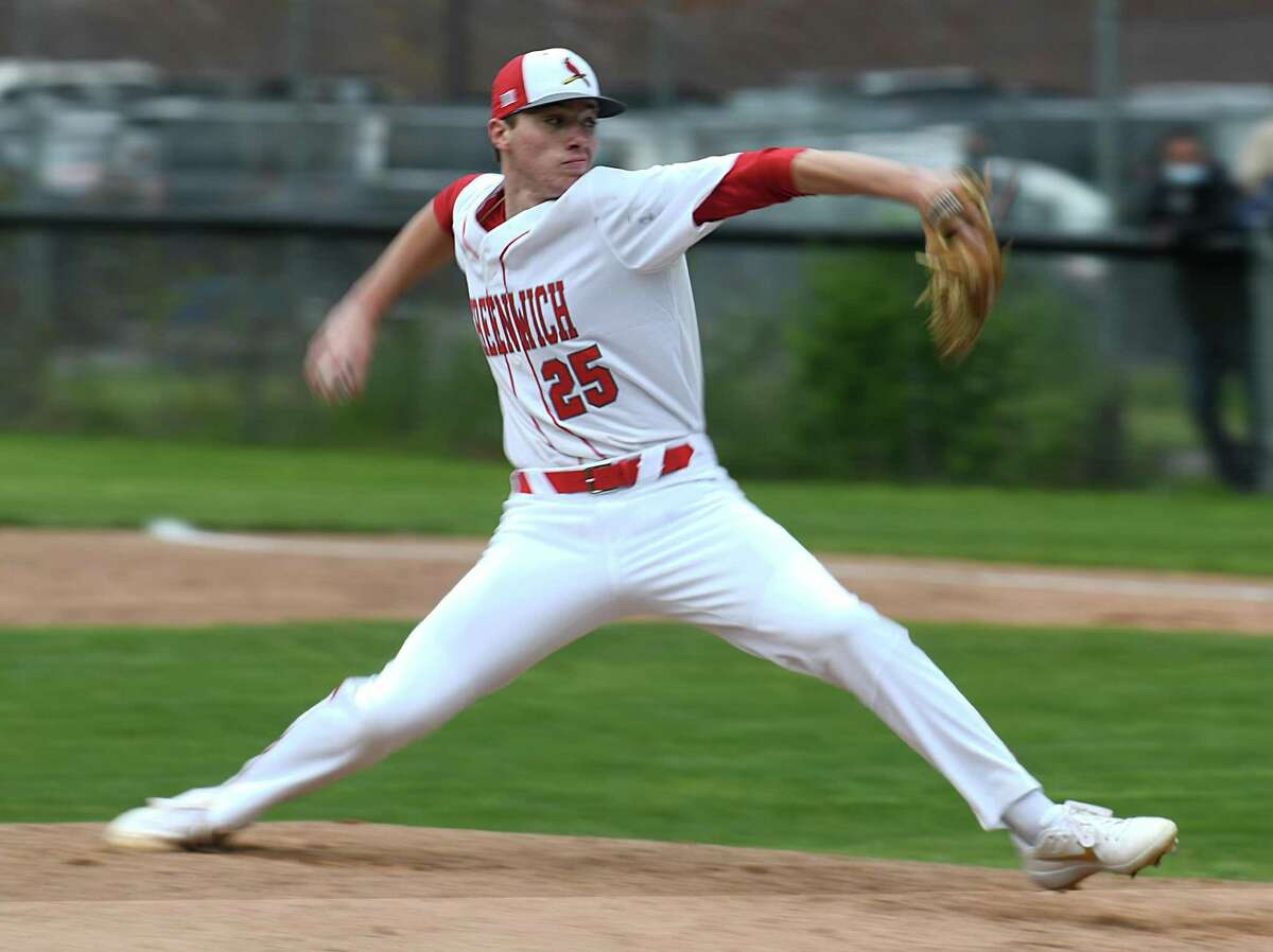 Greenwich's Miles Langhorne pitches in the high school baseball game between Greenwich and Trumbull at Greenwich High School in Greenwich, Conn. Tuesday, May 11, 2021. Langhorne, a senior, is committed to play next year at Vanderbilt, one of the top college baseball programs in the country.