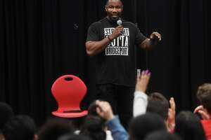 Actor and martial artist Michael Jai White fields questions from drama students during a visit to his alma mater, Central High School, in Bridgeport, Conn. on Thursday, May 16, 2019.