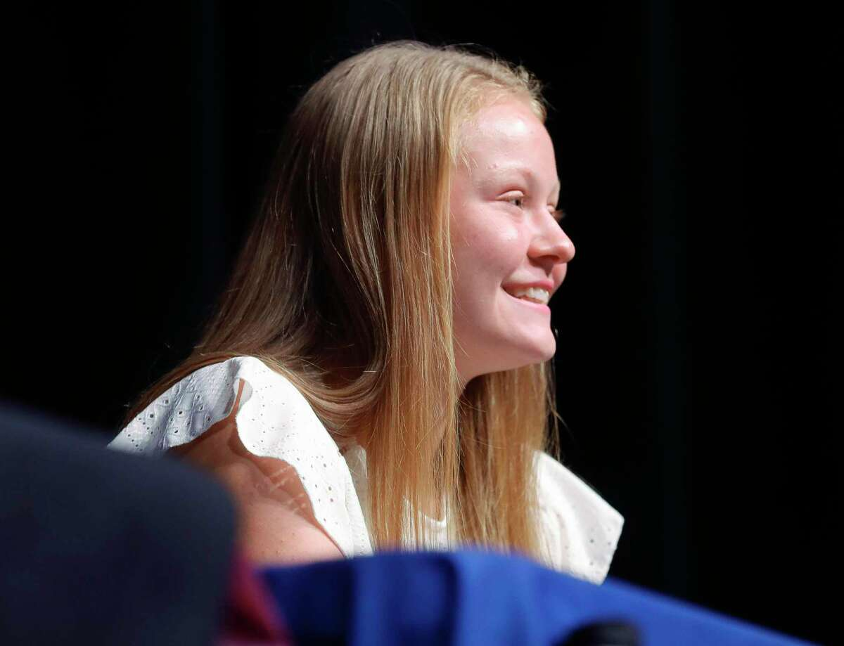 Megan Leblanc signated to play tennis for Letourneau University during a signing ceremony at Willis High School, Friday, May 14, 2021, in Willis.