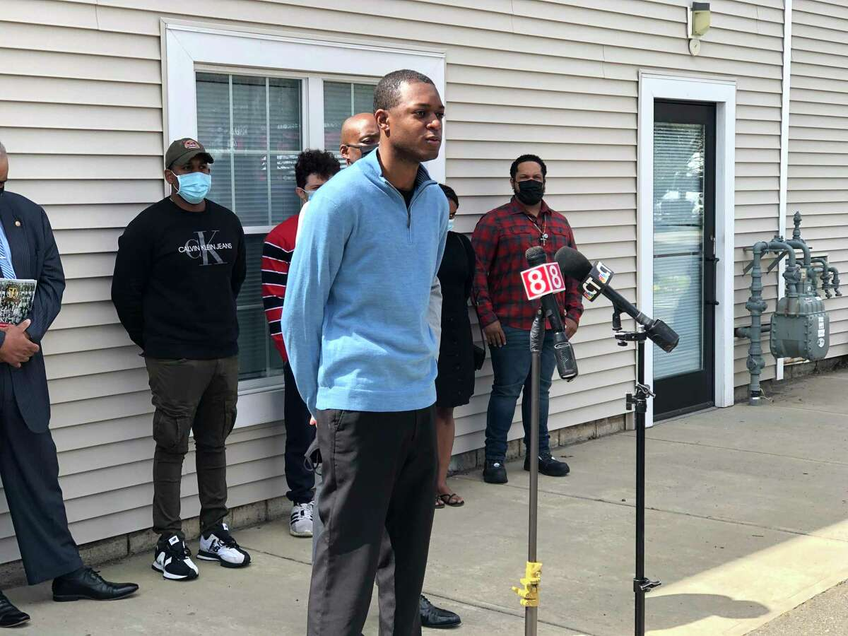 Lt. Samod Rankins, a lieutenant with the New Haven Fire Department, speaks at a press conference in May 2021 about the city's proposed lottery system to break a 99-way tie on the entrance exam for new firefighters.