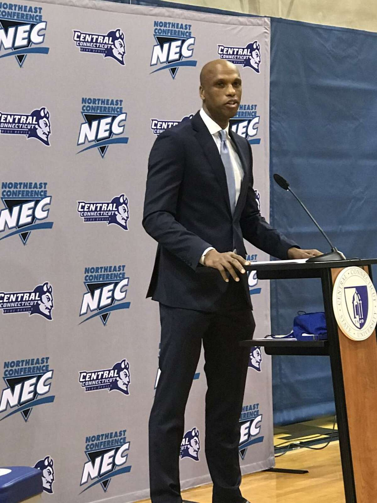 Patrick Sellers speaks during a news conference on Friday to introduce him as the new Central Connecticut State basketball coach.