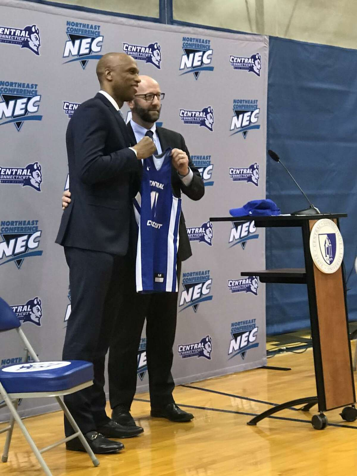 Patrick Sellers was introduced as the new Central Connecticut State men's basketball coach on Friday.