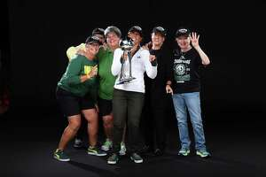 Lisa Brummel (third from left), who was raised in Westport and attended Yale, celebrates the 2021 WNBA championship with among others, her Seattle Storm co-owners Anne Levinson, Dawn Trudeau and Ginny Gilder.