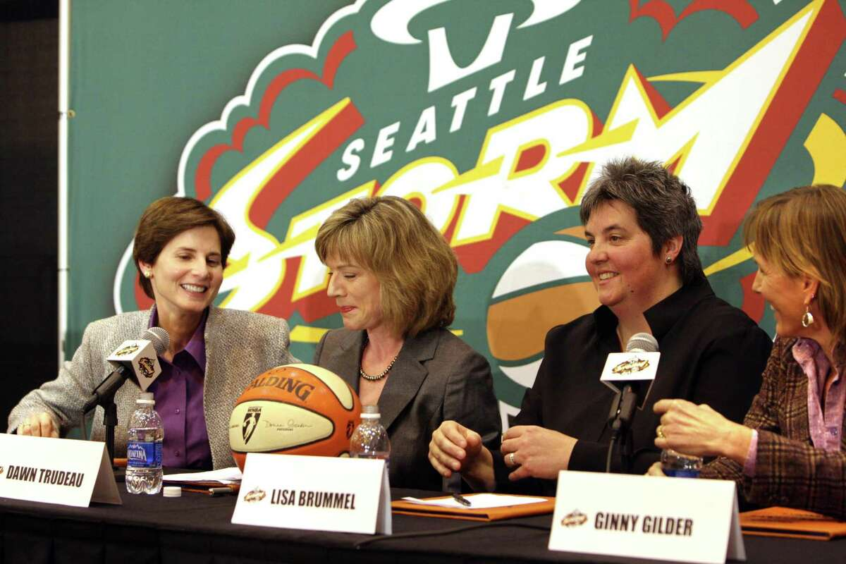 A local ownership group comprised entirely of women appeared at a press conference on January 8, 2007 announcing they will purchase the WNBA team, Seattle Storm allowing the team to remain in Seattle. From left to right: Anne Levinson, Dawn Trudeau, Lisa Brummel, and Ginny Gilder. (photo/Karen Ducey/The Seattle Post-Intelligencer)
