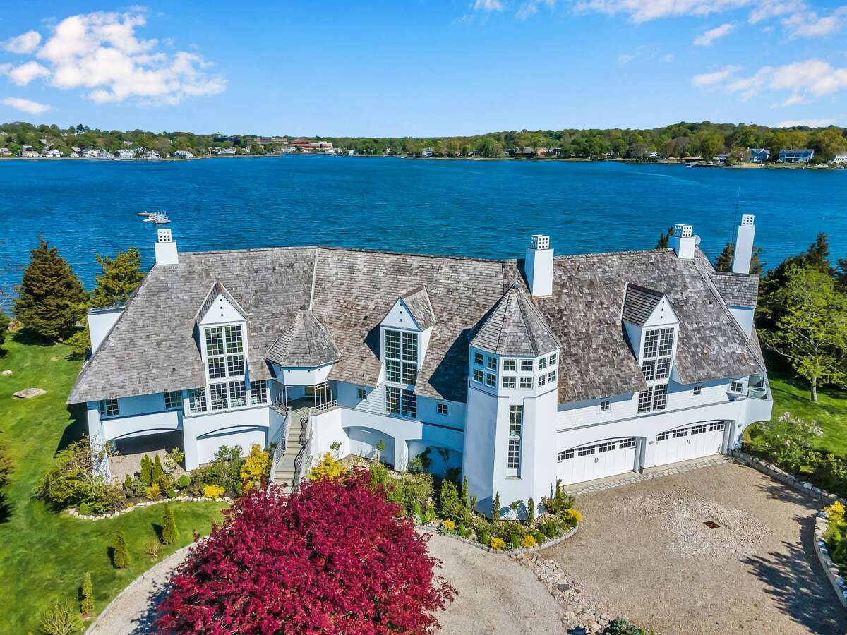 The exterior of the home at 29 Brush Island Road in Darien, Conn.