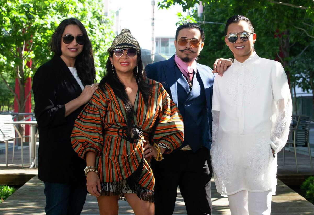 Local designers Sameera Faridi, from left, Tina Zulu, Danny Nguyen and Nicholas Phan Nguyen. Their work will be showcased at Houston First's AAPI Amplified fashion show on May 22.