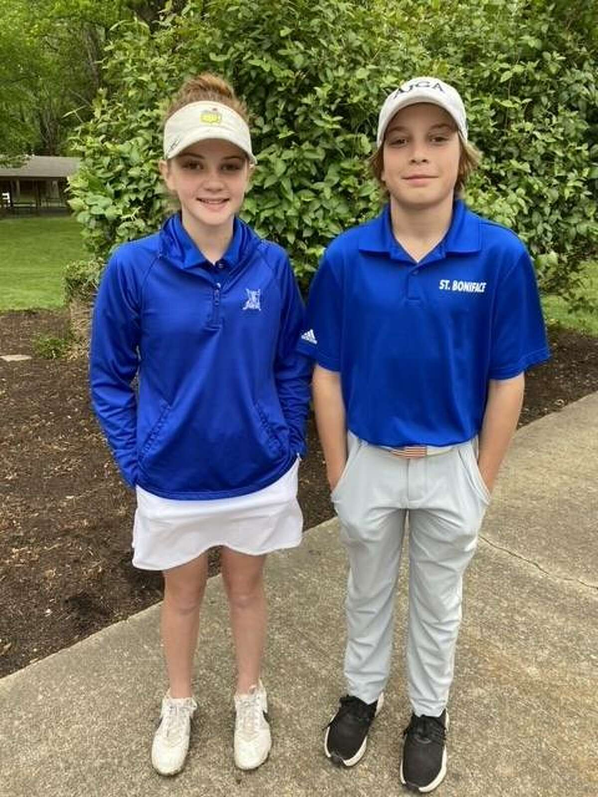 On a cool, windy day at Rend Lake Golf Course, 52 boys and 45 girls competed in the SIJHSAA State Golf Tournament. Representing St. Boniface Catholic School were a pair of seventh-graders, Remy Tyrell and Sarah Hyten. Remy posted a 93 on a very difficult, rained-soak golf course. Sarah posted a personal best score of 80 while hitting 12 of 14 fairways and 15 of 18 greens. This put her in a tie for second place. She lost the scorecard playoff to finish third in the tournament. The St. Boniface Golf Team is coached by Steve Hyten.