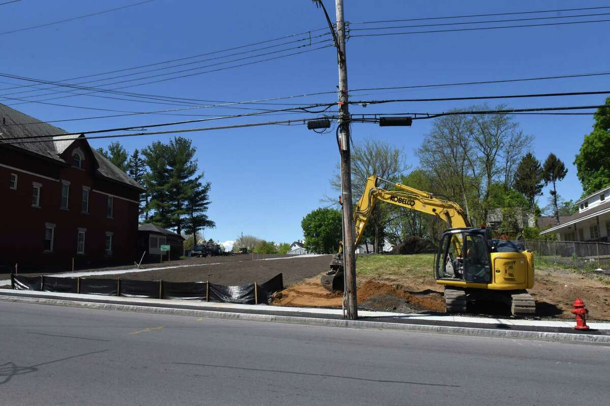 Construction work on the Orchard Park revitalization project in Schenectady's Mont Pleasant neighborhood is underway on Friday, May 14, 2021, on Crane Street in Schenectady, N.Y. (Will Waldron/Times Union)