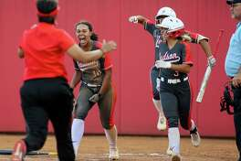 Judson's keely Williams reacts after scoring a runduring their one-game Class 6A softball playoff game with Round Rock at Buda Hays High School in Buda on Thursday, May 12, 2021. Judson scored five runs in the top of the seventh inning to beat Round Rock 7-4.