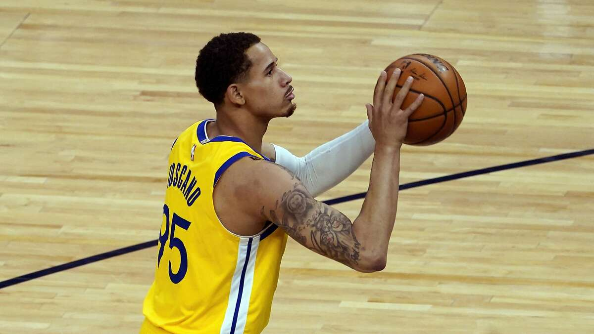 Golden State Warriors' Juan Toscano-Anderson (95) plays against the Minnesota Timberwolves in an NBA basketball game, Thursday, April 29, 2021, in Minneapolis. (AP Photo/Jim Mone)