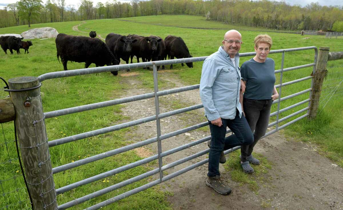 Dr Jeremy Levin and his wife Margery Feldberg on their New Milford farm, De Hoek, which means The Corner in Afrikaans. Monday, May 10, 2021, in New Milford, Conn.
