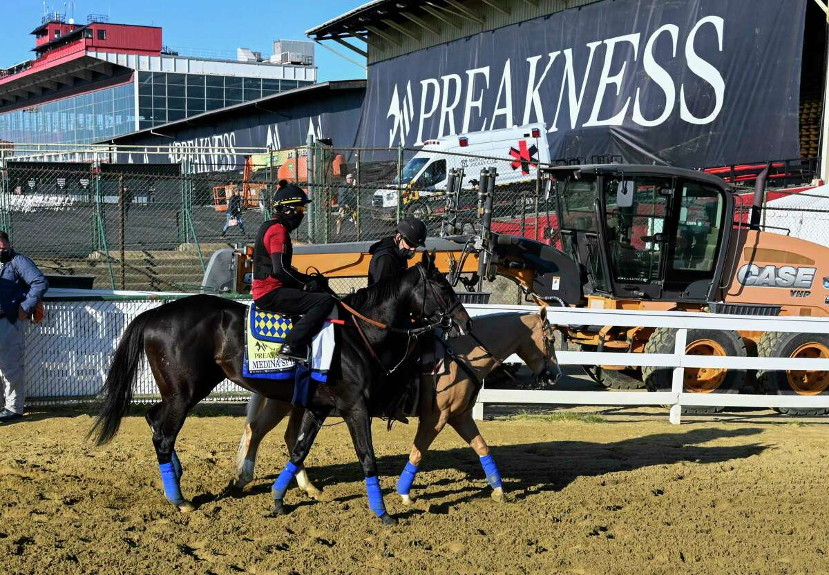 Medina Spirit, shown at the Preakness, won the Kentucky Derby, but tested positive for betamethasone after the race. Medina Spirit's trainer, Bob Baffert, has been suspended by NYRA temporarily, pending a Kentucky investigation.