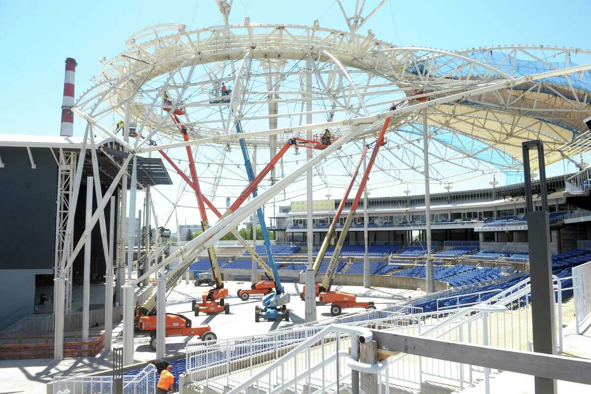 Work continues inside the Hartford Healthcare Amphitheater, currently under construction in Bridgeport, Conn. May 14, 2021. The University of Bridgeport will hold two commencement exercises at the amphitheater on Saturday, the first events at the newly renovated venue.