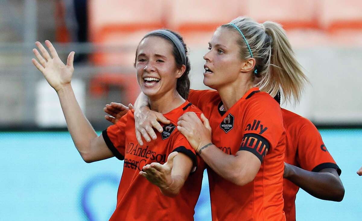 The Dash's Rachel Daly, right, celebrating with Shea Groom after a goal against Portland in the NWSL Challenge Cup, is on target to become the team's all-time leading scorer and is making more of her passes count as well.