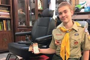 Middletown Eagle Scout candidate Michael Kline, 15, recently learned about a local woman, Adela Santiago, who needed a special wheelchair to get around, but couldn't afford one. He returned enough bottles and cans during a drive to purchase the $500 scooter for her — as a surprise.