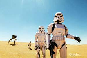 On May 4 (known as Star Wars Day), one fan went the extra mile, hiking up trails along the Red Sands in El Paso to re-create Tatooine.