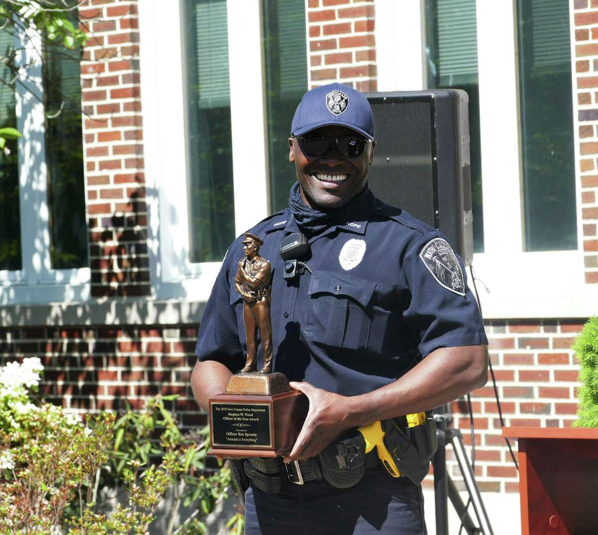 Officer Rex Sprosta was named as the 2020 Stephen W. Wood Officer of the Year for the New Canaan Police Department for his commitment to the community.