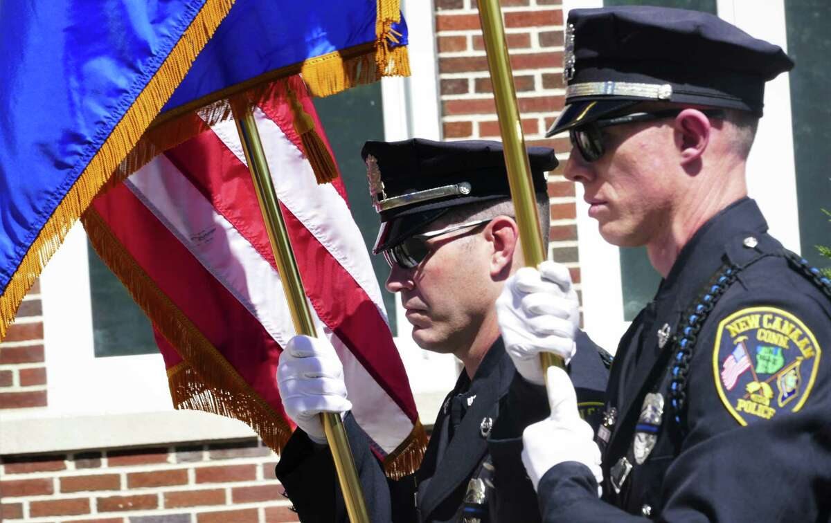 New Canaan Police Department members presented the colors at the ceremony.