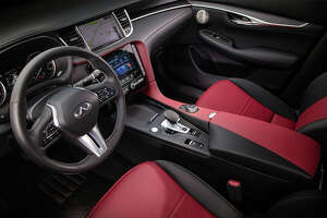 Infiniti's QX55 cabin in Monaco red/graphite is one of three interior color combinations available.