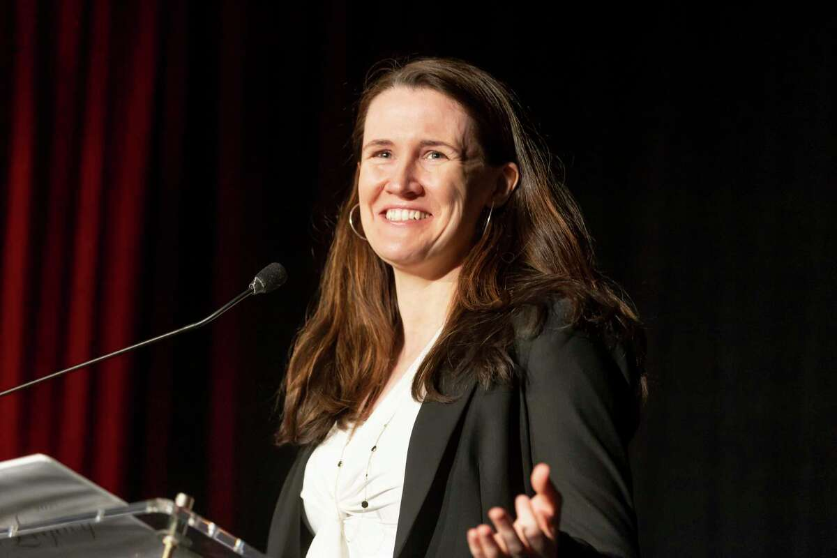 Keynote speaker Liz Murray speaks during the 40th Anniversary Legacy Awards Luncheon hosted by the Community Assistance Center at The Woodlands Waterway Marriott Hotel & Convention Center, Friday, May 14, 2021, in The Woodlands. The event honored local leaders, business partners, faith partners, fellow service organizations and volunteers.