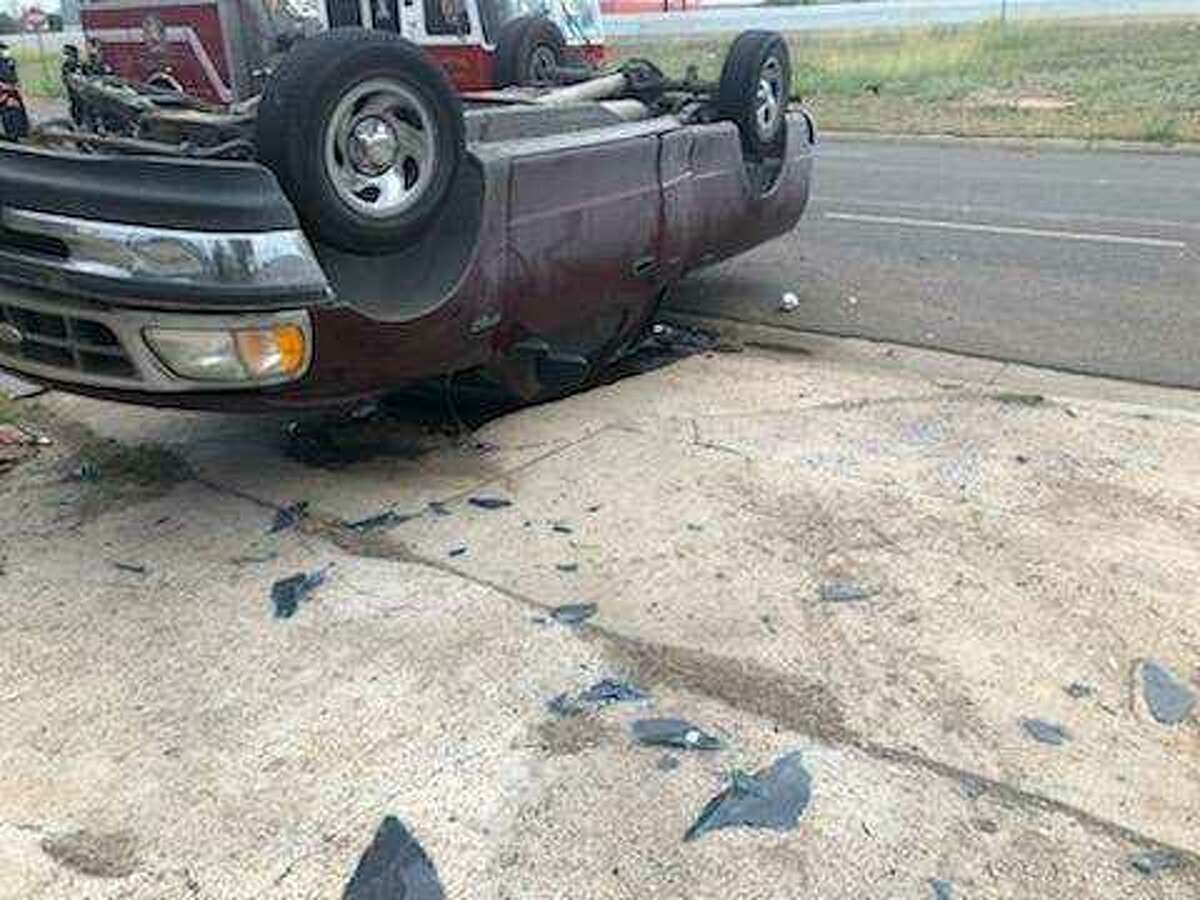 This vehicle rolled over as a result of a two-vehicle crash reported on Thursday evening in central Laredo. A 2-year-old girl who was thrown out of the vehicle was taken to Laredo Medical Center in serious condition.