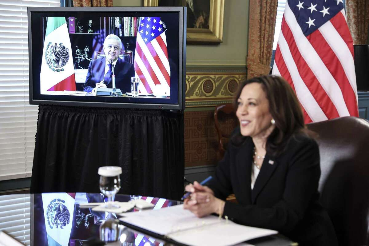 Andres Manuel López Obrador, Mexico's president, meets virtually with U.S. Vice President Kamala Harris earlier this month. Though López Obrador has been hesitant to collaborate with the U.S. since his election in 2018, his ongoing quest for vaccines creates a diplomatic opportunity.