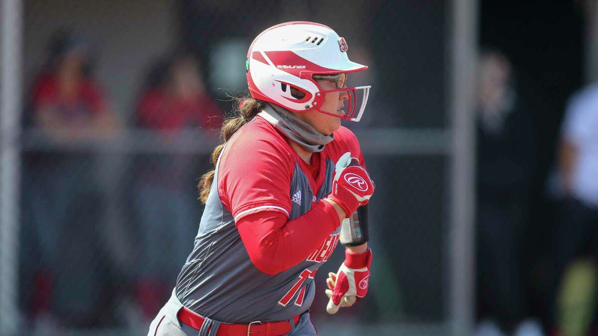 Sacred Heart's Alyssa Gonzalez (77) during an NCAA softball game against Central Connecticut State on Tuesday, April 13, 2021, in New Britain, Conn. (AP Photo/Stew Milne)