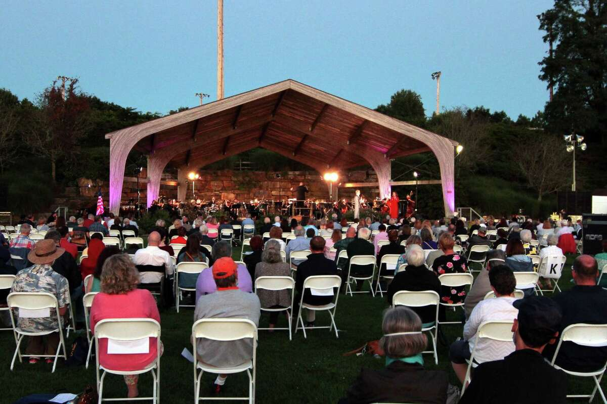 """The Greater Bridgeport Symphony performs its """"Roots of Broadway"""" outdoor concert at Indian Ledge State Park in Trumbull, Conn., on Saturday Sept. 5, 2020."""