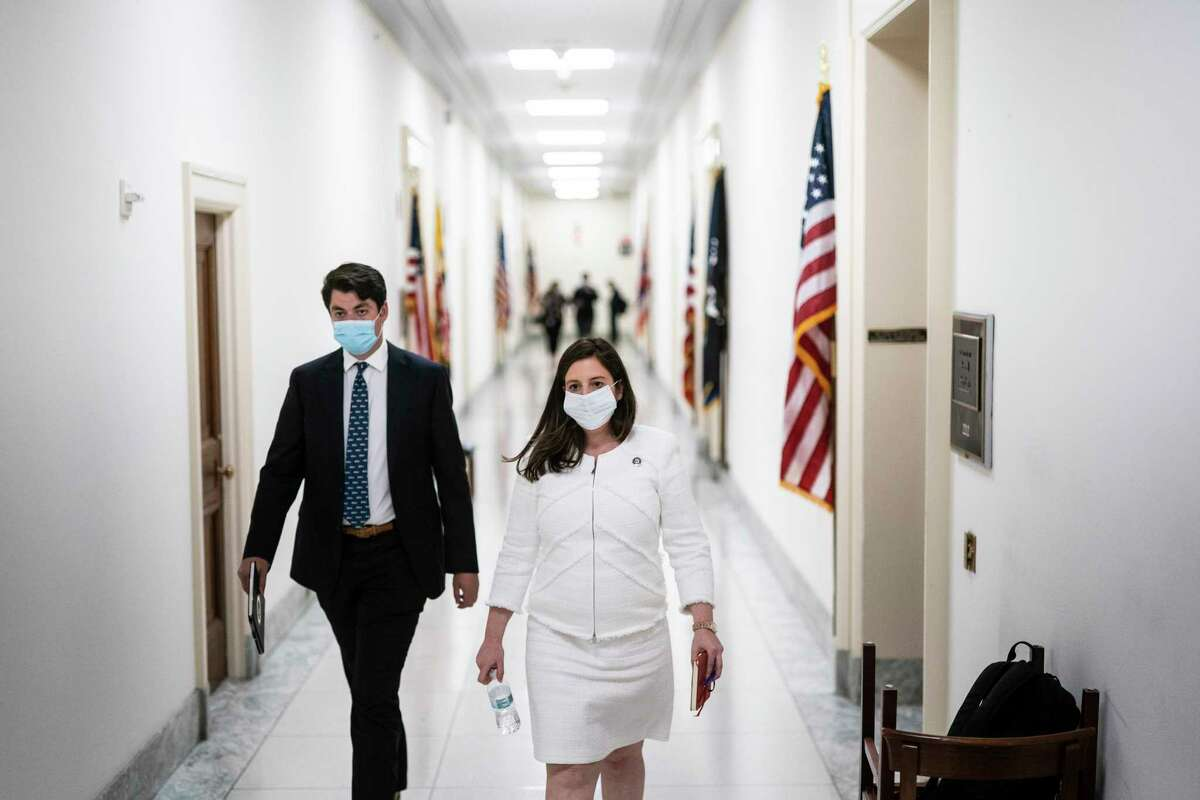 Rep. Elise Stefanik, R-N.Y., walks from her office on Capitol Hill on Wednesday, May 12, 2021.