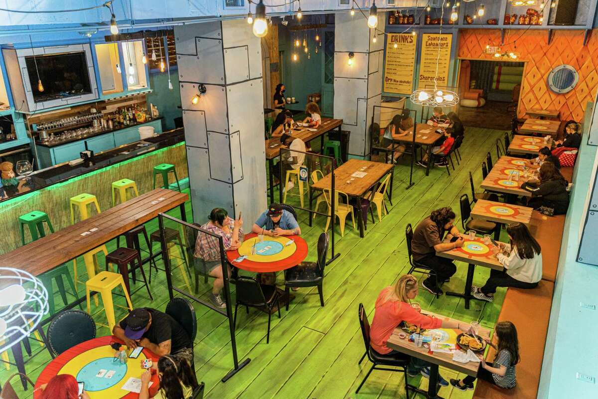 The Rusty Krab Experience is a Spongebob Squarepants-themed pop-up restaurant and bar in downtown Houston.