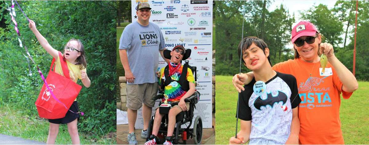 The Conroe Noon Lions Club held their annual 'kids on the lake' - fishing tournament for special needs children at Carl Barton Jr. Park where all were treated to fishing, games, a hot dog lunch and trophies to take home. Pictured: (l-r) Catherine, VP Warner Phelps, Carson, Daniel, Teresa Finley.
