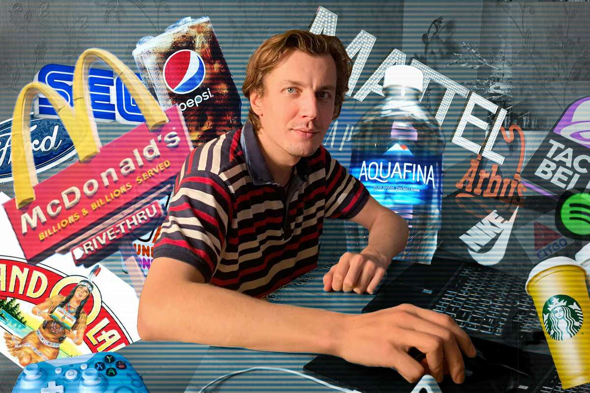 A photo illustration of Sergey Kamolins, who runs the Product Placement Blog from his home in Latvia.