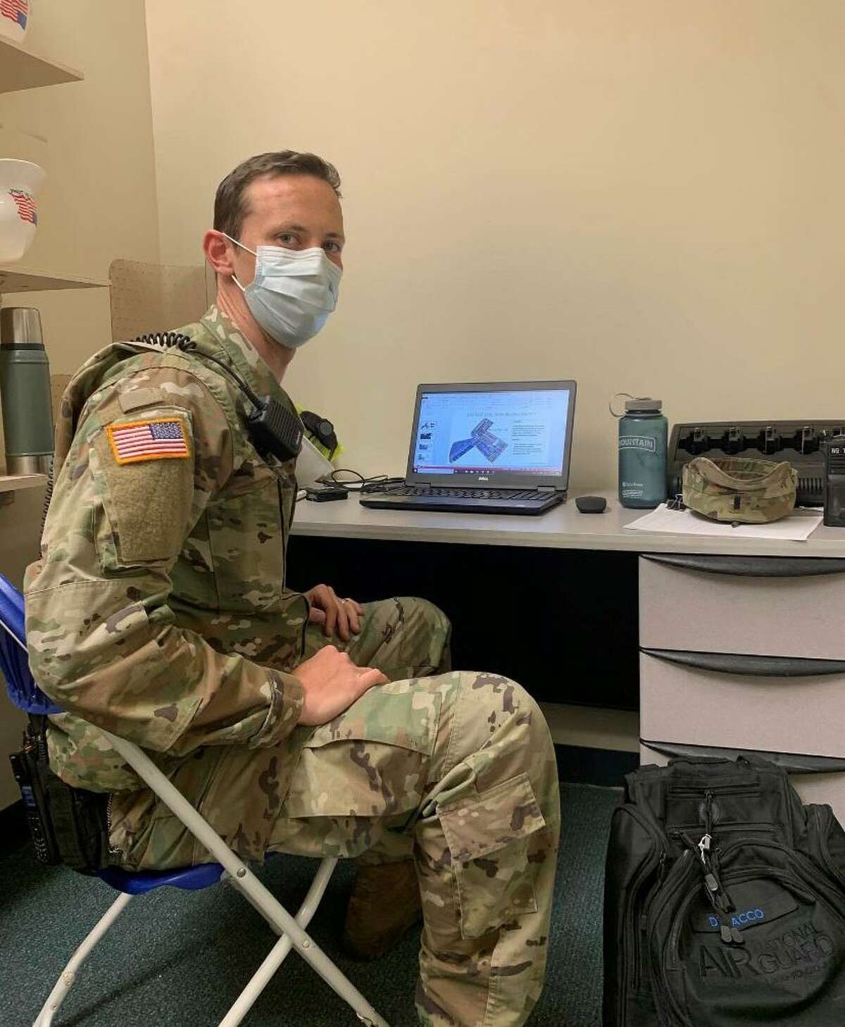 Westhill boys lacrosse coach Scott Stone is a 1st lieutenant with the 1-102nd Infantry of the Connecticut Army National Guard. In the photograph he is helping support the building of test sites and mobile hospitals during the pandemic. He is currently deployed in Africa.